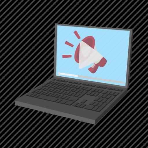 advertising, cartoon, computer, internet, laptop, multimedia, screen icon