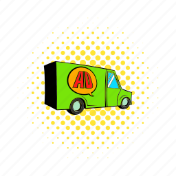 automobile, cargo, comics, freight, lorry, truck, vehicle icon
