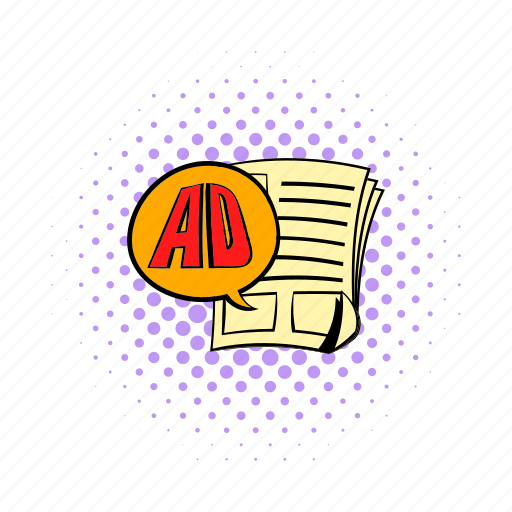 ad, advertise, business, comics, communication, information, newspaper icon