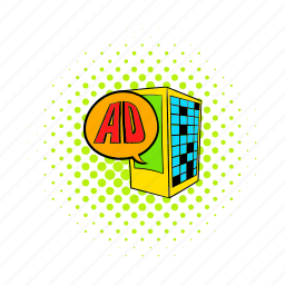ad, advertisement, advertising, building, business, comics, marketing icon