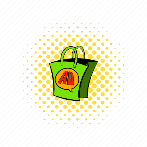 ad, bag, comics, market, package, paper, retail icon