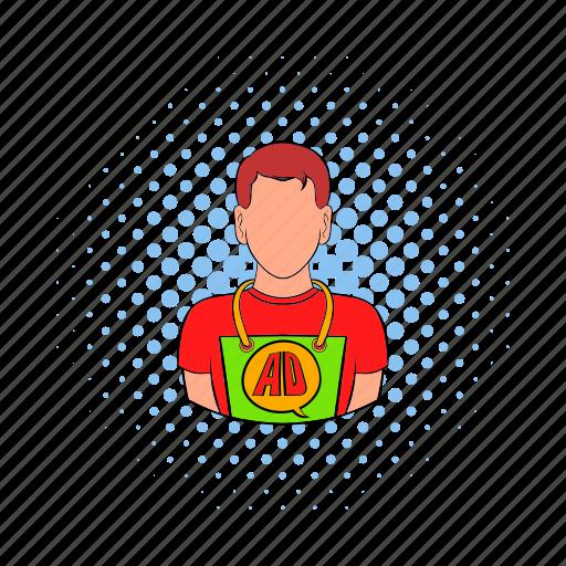 ad, advertisement, advertising, apron, comics, man, person icon