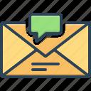 chatting, communication, dialog, envelope, inbox message, notification, reminder