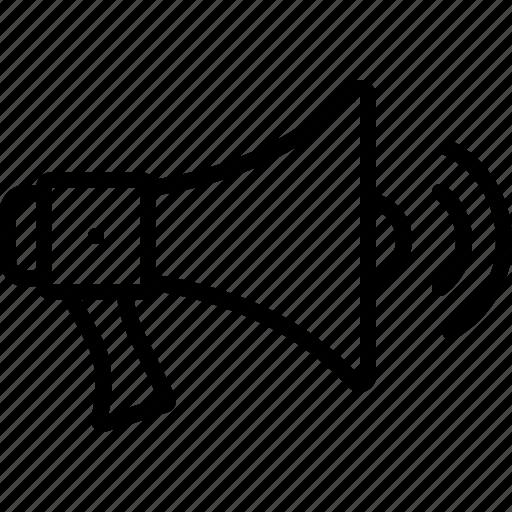 bullhorn, megaphone, megaphone with sound waves, noise, speaker, volume, waves icon