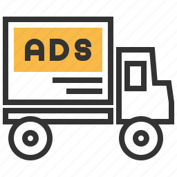 advertising, automobile, car, delivery, transportation, truck icon