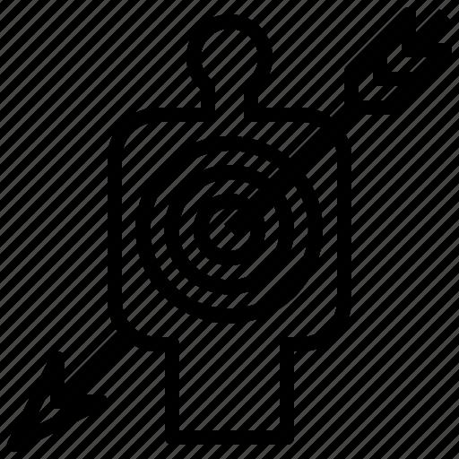 Marketing, arrow, goal, success, target icon