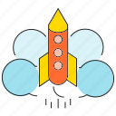 fly, launch, rocket, spaceship icon