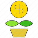 finance, investment, leaf, money, pot, saving icon