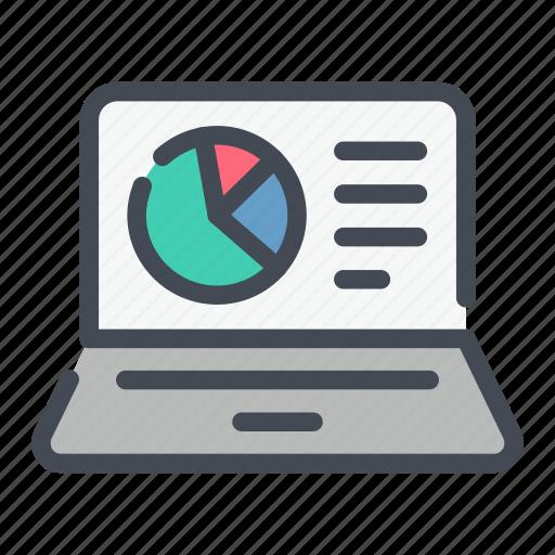 analytics, chart, laptop, online, report, statistics, stats icon
