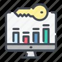 analytics, computer, key, keyword, statistics, stats, word icon