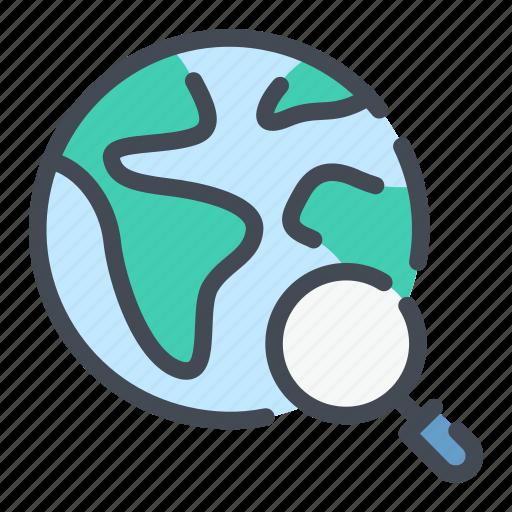 earth, find, globe, location, magnifier, search, world icon
