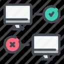 computer, negative, positive, quiz, request, result icon