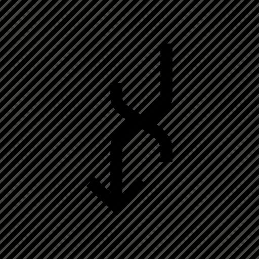arrow, arrows, down, overlap, turn, uturn icon