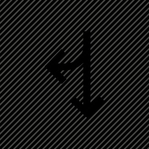 arrow, arrows, down, merge, right, twoway icon