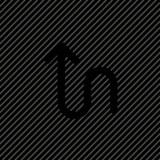 arrow, arrows, sign, straight, up, way, zigzag icon