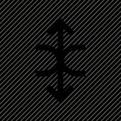 arrow, arrows, circle, down, half, up, updown icon