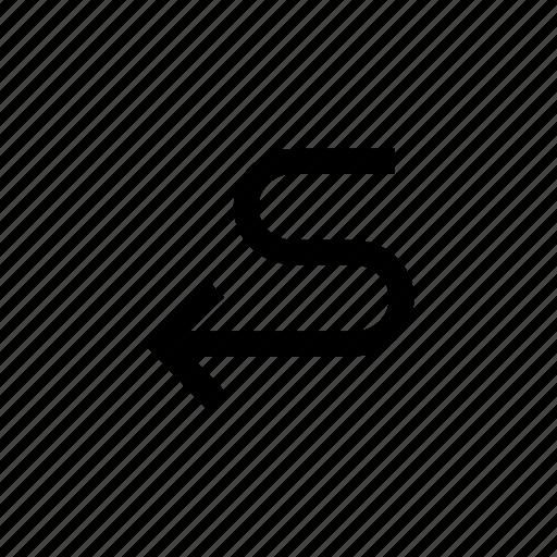 arrow, arrows, down, sign, way, zigzag icon
