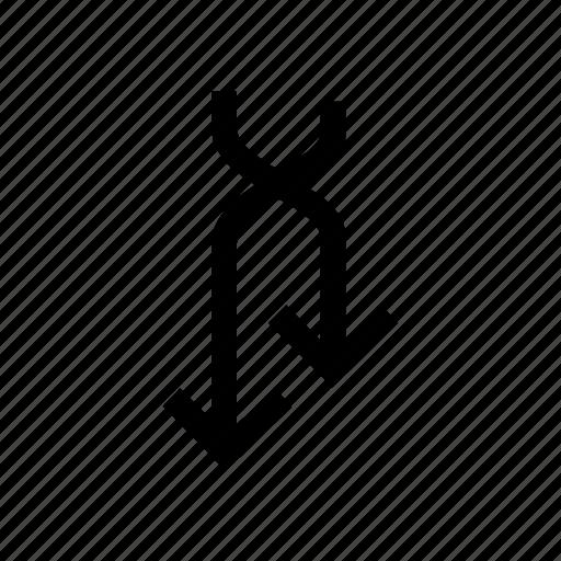 arrow, arrows, connection, cross, down, reverse icon
