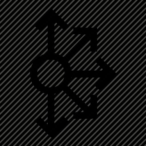 arrows, circle, connect, connectionarrow, half, mess icon