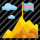 adventure, challenge, flag, mountain, top