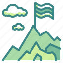 adventure, challenge, flag, mountain, top icon