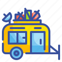 outdoors, vehicle, activities, caravan, travel icon