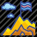 flag, adventure, top, mountain, challenge
