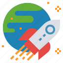 aerospace, astronautic, earth, launch, spacecraft, spaceship icon