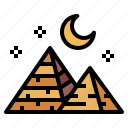 desert, landscape, moon, pyramid icon