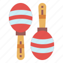 instrument, maracas, music, tropical icon