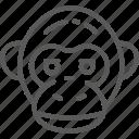 africa, animal, chimpanzee, gorilla, head, monkey, nature icon