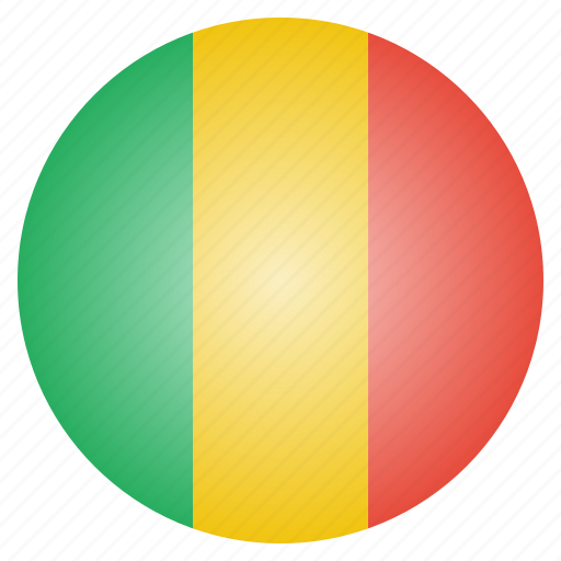 african, country, flag, mali, national icon