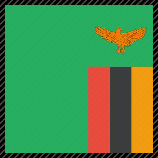 country, flag, national, zambia, zambian icon