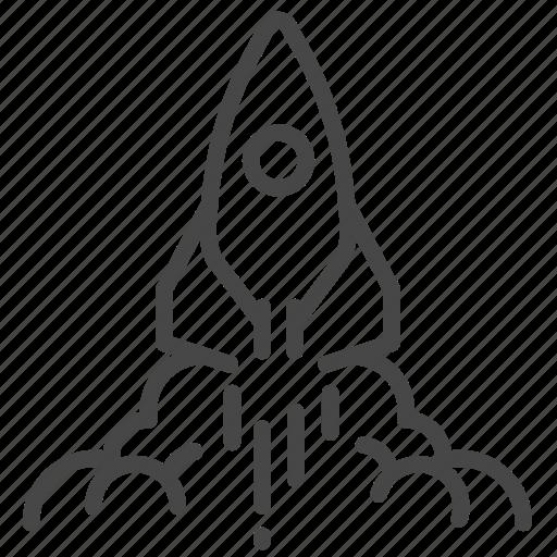 agile, launch, publish, rocket, spaceship, start icon