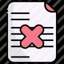 incomprehension, denied, document, cancel, rejected, file, report