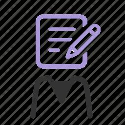 agile, blogger, clerk, content, copywriter, officer, writer icon