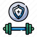 safe, excercise, healthcare, gym, fitness, weight training, trainer icon