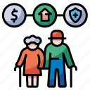 welfare, retirement, pension, insurance, elderly, asset, baby boom icon