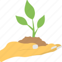 agriculture, environment protection, growth concept, plant in hand, planting icon