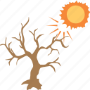 autumn season, crooked tree, dead tree, hot day, tree and sun icon