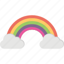 majestic clouds, pleasant weather, rainbow, rainbow clouds, rainbow in clouds icon