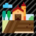agriculture, barn, farm, field