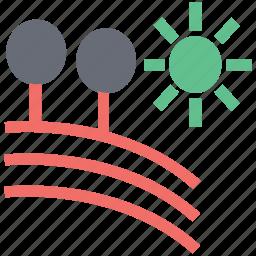 agriculture, farm, field, landscape, rural area, sun, trees, village icon