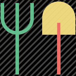 digging, gardening tools, hand tools, rake, shovel icon
