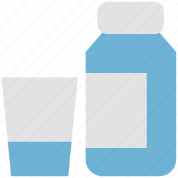 bottle, cup, dairy product, food, milk, milk bottle icon