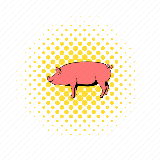 animal, comics, domestic, farm, mammal, pig, piglet icon