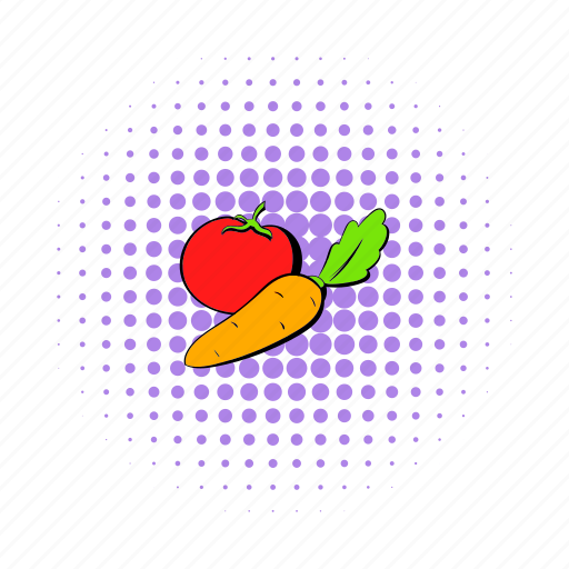 agriculture, carrot, comics, food, healthy, tomato, vegetable icon