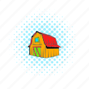 barn, comics, door, farm, house, red, wooden icon