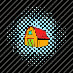 barn, comics, door, farm, house, red, wooden icon