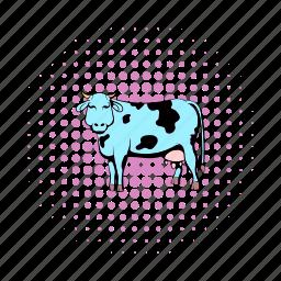 animal, comics, cow, domestic, farm, livestock, living pictogram icon